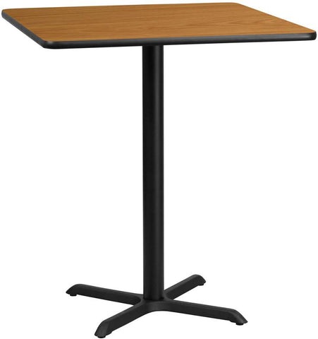 Flash Furniture XU-NATTB-3636-T3030B-GG 36'' Square Natural Laminate Table Top with 30'' x 30'' Bar Height Table Base - Peazz Furniture