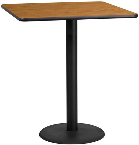 Flash Furniture XU-NATTB-3636-TR24B-GG 36'' Square Natural Laminate Table Top with 24'' Round Bar Height Table Base - Peazz Furniture