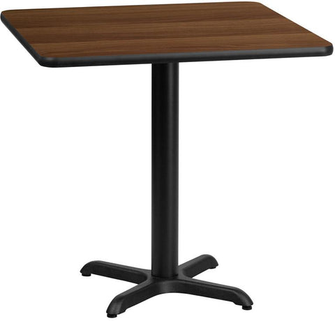 Flash Furniture XU-WALTB-2424-T2222-GG 24'' Square Walnut Laminate Table Top with 22'' x 22'' Table Height Base - Peazz Furniture