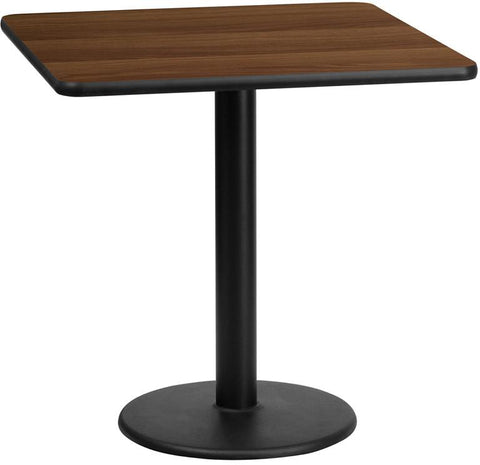 Flash Furniture XU-WALTB-2424-TR18-GG 24'' Square Walnut Laminate Table Top with 18'' Round Table Height Base - Peazz Furniture