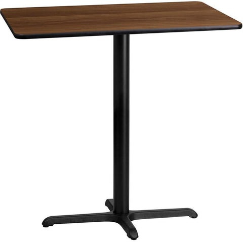 Flash Furniture XU-WALTB-2442-T2230B-GG 24'' x 42'' Rectangular Walnut Laminate Table Top with 22'' x 30'' Bar Height Table Base - Peazz Furniture