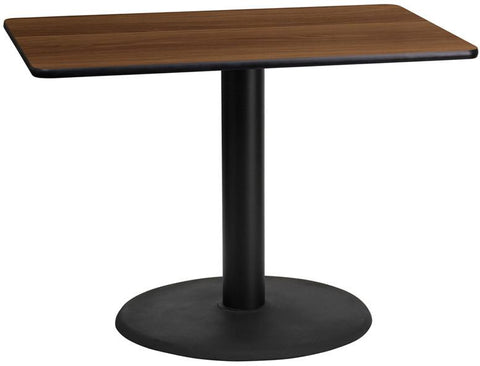 Flash Furniture XU-WALTB-2442-TR24-GG 24'' x 42'' Rectangular Walnut Laminate Table Top with 24'' Round Table Height Base - Peazz Furniture