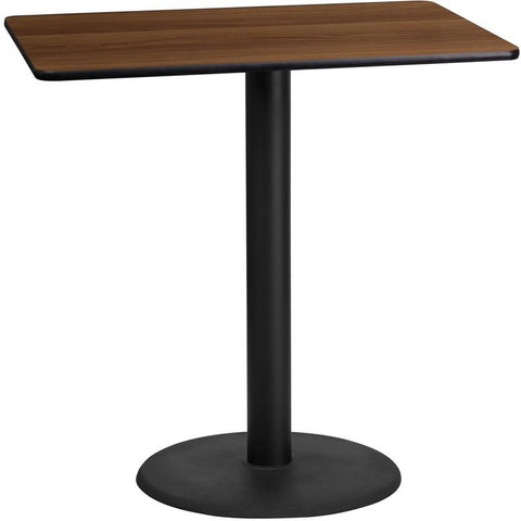 Flash Furniture XU-WALTB-2442-TR24B-GG 24'' x 42'' Rectangular Walnut Laminate Table Top with 24'' Round Bar Height Table Base - Peazz Furniture