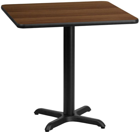 Flash Furniture XU-WALTB-3030-T2222-GG 30'' Square Walnut Laminate Table Top with 22'' x 22'' Table Height Base - Peazz Furniture