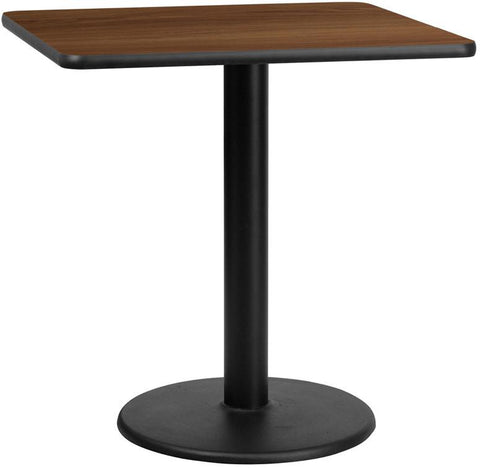 Flash Furniture XU-WALTB-3030-TR18-GG 30'' Square Walnut Laminate Table Top with 18'' Round Table Height Base - Peazz Furniture
