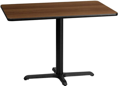 Flash Furniture XU-WALTB-3042-T2230-GG 30'' x 42'' Rectangular Walnut Laminate Table Top with 22'' x 30'' Table Height Base - Peazz Furniture