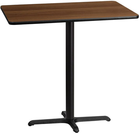 Flash Furniture XU-WALTB-3042-T2230B-GG 30'' x 42'' Rectangular Walnut Laminate Table Top with 22'' x 30'' Bar Height Table Base - Peazz Furniture