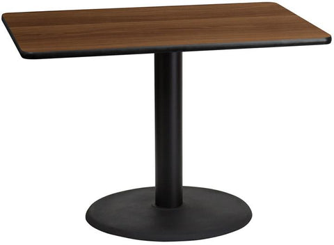 Flash Furniture XU-WALTB-3042-TR24-GG 30'' x 42'' Rectangular Walnut Laminate Table Top with 24'' Round Table Height Base - Peazz Furniture