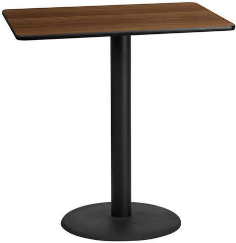 Flash Furniture XU-WALTB-3045-TR24B-GG 30'' x 45'' Rectangular Walnut Laminate Table Top with 24'' Round Bar Height Table Base - Peazz Furniture