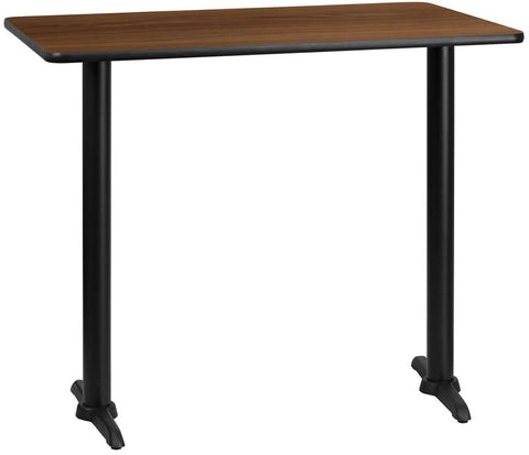 Flash Furniture XU-WALTB-3048-T0522B-GG 30'' x 48'' Rectangular Walnut Laminate Table Top with 5'' x 22'' Bar Height Table Bases - Peazz Furniture