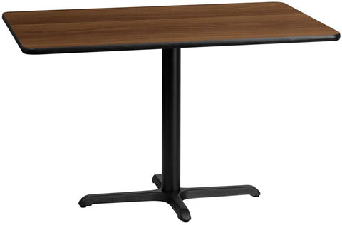 Flash Furniture XU-WALTB-3048-T2230-GG 30'' x 48'' Rectangular Walnut Laminate Table Top with 22'' x 30'' Table Height Base - Peazz Furniture