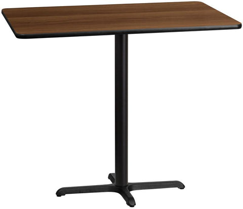 Flash Furniture XU-WALTB-3048-T2230B-GG 30'' x 48'' Rectangular Walnut Laminate Table Top with 22'' x 30'' Bar Height Table Base - Peazz Furniture