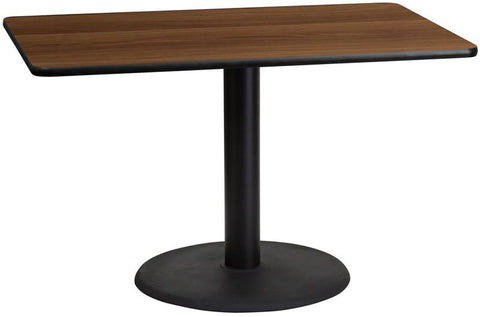 Flash Furniture XU-WALTB-3048-TR24-GG 30'' x 48'' Rectangular Walnut Laminate Table Top with 24'' Round Table Height Base - Peazz Furniture