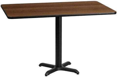 Flash Furniture XU-WALTB-3060-T2222-GG 30'' x 60'' Rectangular Walnut Laminate Table Top with 22'' x 22'' Table Height Bases - Peazz Furniture