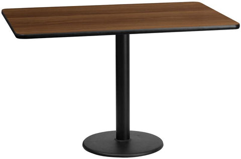 Flash Furniture XU-WALTB-3060-TR18-GG 30'' x 60'' Rectangular Walnut Laminate Table Top with 18'' Round Table Height Bases - Peazz Furniture