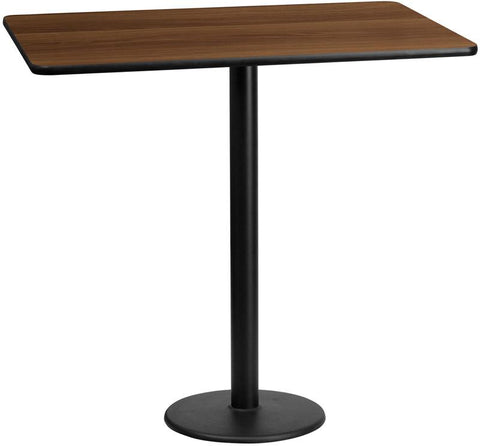 Flash Furniture XU-WALTB-3060-TR18B-GG 30'' x 60'' Rectangular Walnut Laminate Table Top with 18'' Round Bar Height Table Bases - Peazz Furniture
