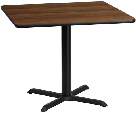 Flash Furniture XU-WALTB-3636-T3030-GG 36'' Square Walnut Laminate Table Top with 30'' x 30'' Table Height Base - Peazz Furniture