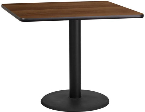 Flash Furniture XU-WALTB-3636-TR24-GG 36'' Square Walnut Laminate Table Top with 24'' Round Table Height Base - Peazz Furniture