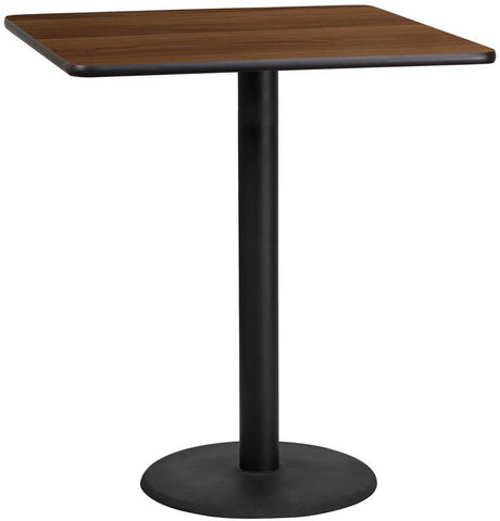 Flash Furniture XU-WALTB-3636-TR24B-GG 36'' Square Walnut Laminate Table Top with 24'' Round Bar Height Table Base - Peazz Furniture