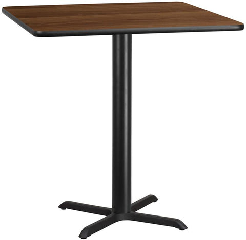 Flash Furniture XU-WALTB-4242-T3333B-GG 42'' Square Walnut Laminate Table Top with 33'' x 33'' Bar Height Table Base - Peazz Furniture
