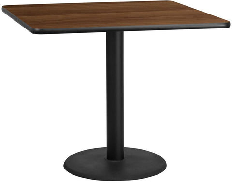 Flash Furniture XU-WALTB-4242-TR24-GG 42'' Square Walnut Laminate Table Top with 24'' Round Table Height Base - Peazz Furniture