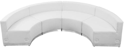 Flash Furniture ZB-803-480-SET-WH-GG HERCULES Alon Series White Leather Reception Configuration, 4 Pieces - Peazz Furniture