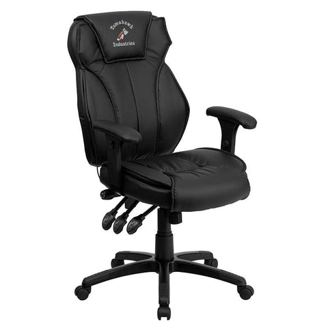 Flash Furniture BT-9835H-EMB-GG Embroidered High Back Black Leather Executive Office Chair with Triple Paddle Control - Peazz Furniture