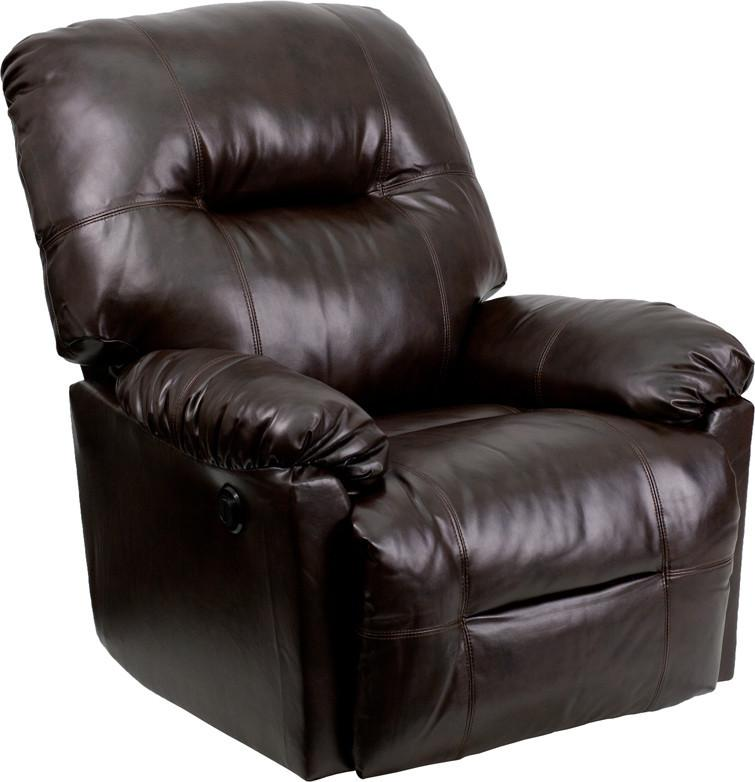 Flash Bentley Brown Leather Chaise Power Recliner Contemporary