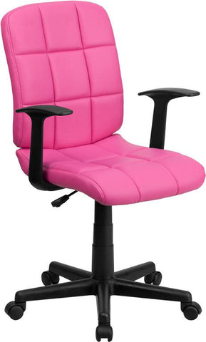 Flash Furniture GO-1691-1-PINK-A-GG Mid-Back Pink Quilted Vinyl Task Chair with Nylon Arms - Peazz Furniture