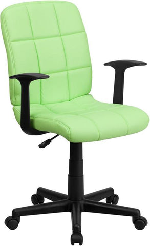 Flash Furniture GO-1691-1-GREEN-A-GG Mid-Back Green Quilted Vinyl Task Chair with Nylon Arms - Peazz Furniture