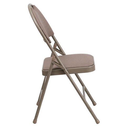 Flash Furniture HA-MC705AF-3-BGE-EMB-GG Embroidered HERCULES Series Extra Large Ultra-Premium Triple Braced Beige Fabric Metal Folding Chair with Easy-Carry Handle - Peazz Furniture