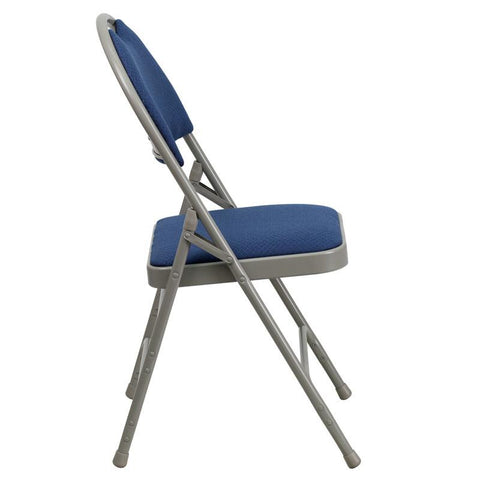 Flash Furniture HA-MC705AF-3-NVY-EMB-GG Embroidered HERCULES Series Extra Large Ultra-Premium Triple Braced Navy Fabric Metal Folding Chair with Easy-Carry Handle - Peazz Furniture