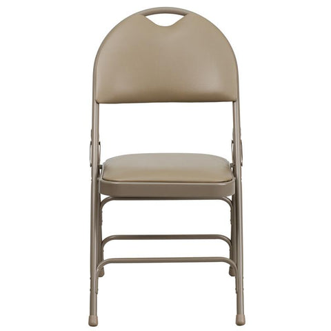 Flash Furniture HA-MC705AV-3-BGE-EMB-GG Embroidered HERCULES Series Extra Large Ultra-Premium Triple Braced Beige Vinyl Metal Folding Chair with Easy-Carry Handle - Peazz Furniture