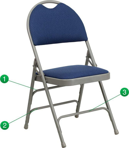 Flash Furniture HA-MC705AF-3-NVY-GG HERCULES Series Extra Large Ultra-Premium Triple Braced Navy Fabric Metal Folding Chair with Easy-Carry Handle - Peazz Furniture