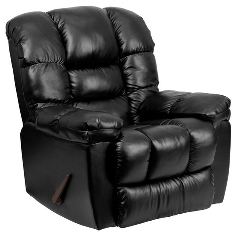 Flash Furniture AM-C9550-4801-GG Contemporary New Era Black Leather Chaise Rocker Recliner - Peazz Furniture