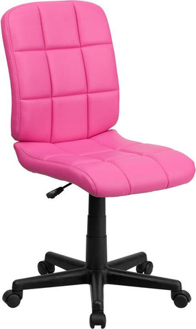 Flash Furniture GO-1691-1-PINK-GG Mid-Back Pink Quilted Vinyl Task Chair - Peazz Furniture