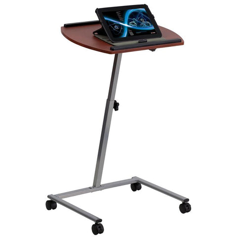 Flash Furniture JB-4-GG Angle and Height Adjustable Mobile Laptop Computer Table with Mahogany Top - Peazz Furniture