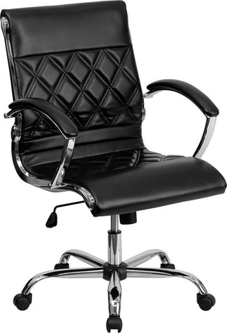 Flash Furniture GO-1297M-MID-BK-GG Mid-Back Designer Black Leather Executive Office Chair with Chrome Base - Peazz Furniture