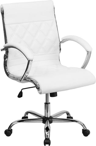 Flash Furniture GO-1297M-MID-WHITE-GG Mid-Back Designer White Leather Executive Office Chair with Chrome Base - Peazz Furniture