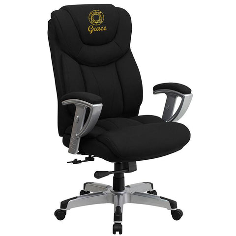 Flash Furniture GO-1534-BK-FAB-EMB-GG Embroidered HERCULES Series 400 lb. Capacity Big & Tall Black Fabric Office Chair with Arms - Peazz Furniture
