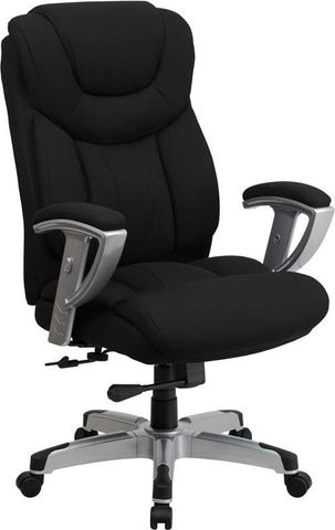 Flash Furniture GO-1534-BK-FAB-GG HERCULES Series 400 lb. Capacity Big & Tall Black Fabric Office Chair with Arms - Peazz Furniture