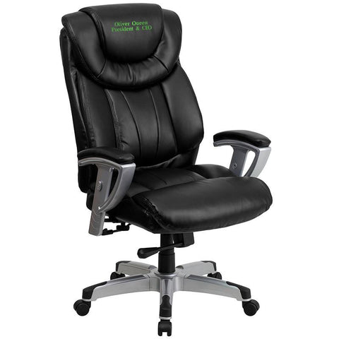 Flash Furniture GO-1534-BK-LEA-EMB-GG Embroidered HERCULES Series 400 lb. Capacity Big & Tall Black Leather Office Chair with Arms - Peazz Furniture