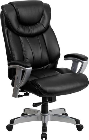 Flash Furniture GO-1534-BK-LEA-GG HERCULES Series 400 lb. Capacity Big & Tall Black Leather Office Chair with Arms - Peazz Furniture