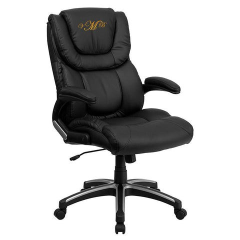 Flash Furniture BT-9896H-EMB-GG Embroidered High Back Black Leather Executive Office Chair - Peazz Furniture
