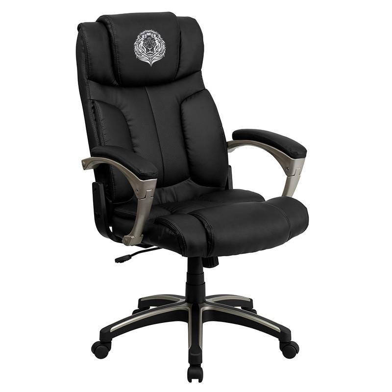 Executive | Furniture | Embroider | Leather | Office | Flash | Chair | Black | Fold | Back | High