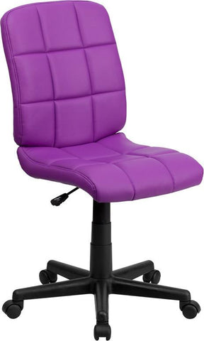 Flash Furniture GO-1691-1-PUR-GG Mid-Back Purple Quilted Vinyl Task Chair - Peazz Furniture
