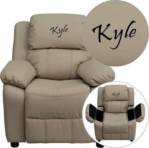 Flash Furniture BT-7985-KID-BGE-EMB-GG Personalized Deluxe Heavily Padded Beige Vinyl Kids Recliner with Storage Arms - Peazz Furniture