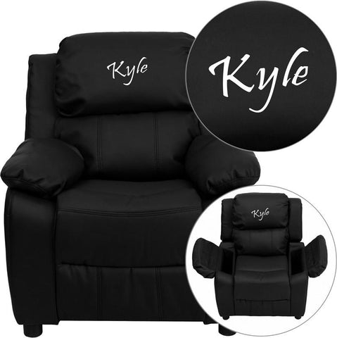 Flash Furniture BT-7985-KID-BK-LEA-EMB-GG Personalized Deluxe Heavily Padded Black Leather Kids Recliner with Storage Arms - Peazz Furniture