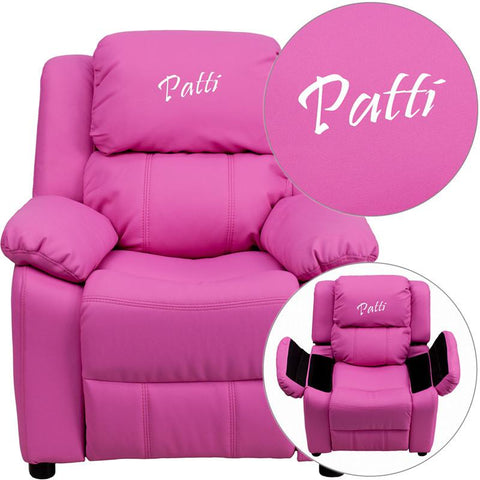 Flash Furniture BT-7985-KID-HOT-PINK-EMB-GG Personalized Deluxe Heavily Padded Hot Pink Vinyl Kids Recliner with Storage Arms - Peazz Furniture