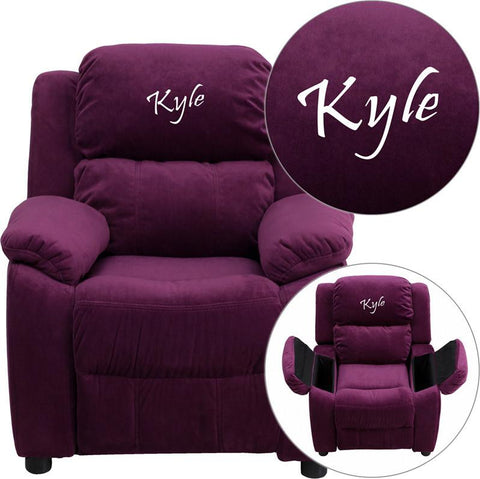 Flash Furniture BT-7985-KID-MIC-PUR-EMB-GG Personalized Deluxe Heavily Padded Purple Microfiber Kids Recliner with Storage Arms - Peazz Furniture